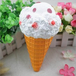Wholesale Large Charms Wholesale - Squishy Large Ice Cream Cone 19cm Slow Rising Relieve Stress Cake Sweet Animal PU Cell Phone Strap Phone Pendant Key Chain Toy Gift