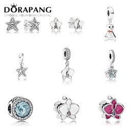 Wholesale starfish 925 silver jewelry - DORAPANG 100% 925 Sterling Silver Starfish earrings Charms Stars bead Fits Bracelets DIY bracelet Factory jewelry wholesale