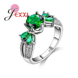 Wholesale Emerald Rings For Women - Wholesale- PATICO Exquisite Imitation Emerald CZ Crystal 925 Silver Ring For Women Party With Green Crystal Finger Rings Jewelry