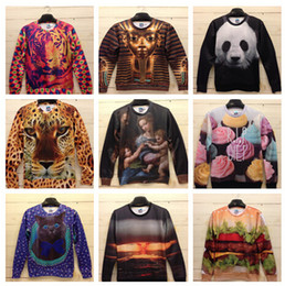 Wholesale Galaxy Print T Shirts - 2015 New Winter Women Men Space print Galaxy hoodies Sweaters Pullovers panda tiger cat animal 3D Sweatshirt Tops T Shirt