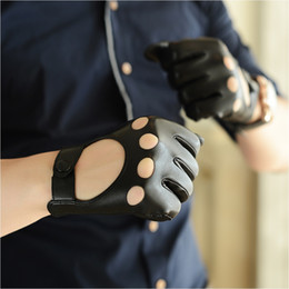 Wholesale Driver Gloves - leather gloves male autumn and winter tight-fitting male motorcycle fashion leather driver gloves