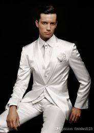Wholesale Mens Dress Winter Jacket Sale - 2016 Hot Sale One Button White Groom Tuxedos Peak Lapel Groomsmen Mens Wedding Dresses Prom Suits (Jacket+Pants+Vest+Tie) AA1904