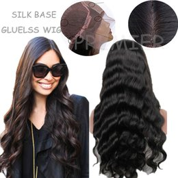 Wholesale Silk Head Caps - Silk Top Glueless Full Head lace Front Wigs 14-20''Brazilian Virgin Hair Natural Color Natural Wave Glueless Cap Size 4X4'' Silk Base