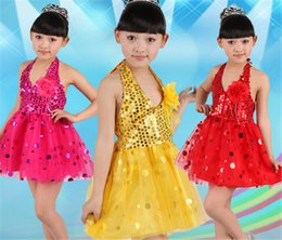 Wholesale Latin Dance Show - Stage costumes for children clothing Glitter modern Latin dance sequins children show Dance Party Show Costume Children sequins carapace