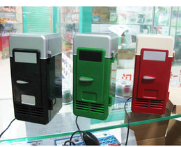 Wholesale Beer Usb - MINI Portable USB PC Fridge Car Refrigerator Heater Beer Juice Warmer Cooler with LED Indicator In Stock