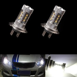 Wholesale h1 projector light - H7 80W Super White 16 CREE High Power LED Front Daytime Running Light 1920 Lumen Fog Light DRL Replacement Car Bulbs LED Projector