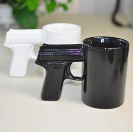 Wholesale Ceramic Cups Handles - Creative Gun Style Handle Ceramic Coffee Water Mug Cup 400ml Funny creative pistol shape ceramic cup KKA3260