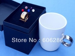 Wholesale Diamond Ring Cup - Party favors Novelty Crystal Diamond Carat Ring Ceramic Cup Valentine's Cup lovers mug free shipping 45pcs wholesale