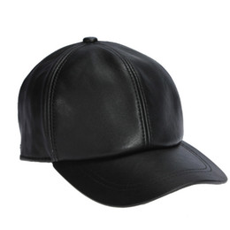 Wholesale Leather Baseball Caps For Men - Wholesale-High Quality Sheepskin Hat Genuine Winter Leather Hats Baseball Cap Adjustable for Men Black Caps Free Shipping
