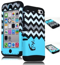 Wholesale Anchor Iphone 5c Cases - Heavy Duty Hybrid Case for iPhone 5C, 5th Generation - Black Silicone   Teal Chevron with Anchor Design Hard Shell 50PCS LOTS