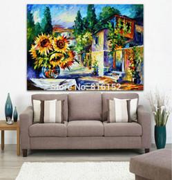 Sonnenblumenbilder drucken online-Goldene Sonnenblumen Floral in Straße Moderne Spachtel Malerei Wandkunst auf Leinwand Bild für Office Home Decor gedruckt