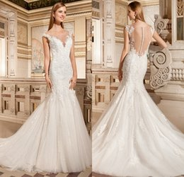 Wholesale Demetrios Mermaid Dresses - Vintage Sheer Crew Mermaid Wedding Dresses Lace 2015 Court Train Covered Button Demetrios bride Dress Arabic Vestidos De Novia 2016