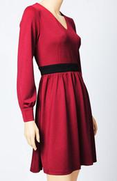 Vestido de princesa vermelha mulheres Sexy com decote em v Kate Middleton vestidos WF008E de