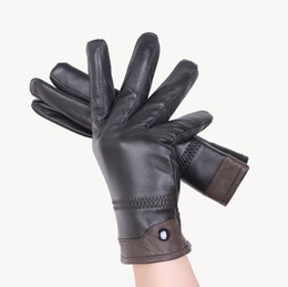 Wholesale Gloves Genuine Leather - Luxury Mens Quality 100% Genuine Sheepskin Leather Winter Warm Driving Riding Gloves Full Finger Cashmere Lined