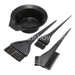 Wholesale Tint Brush Comb - Free Shipping 4pcs 1 Set Black Plastic Hair Dye Colouring Brush Comb Mixing Bowl Barber Salon Tint Hairdressing Styling Tools
