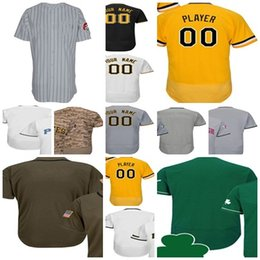 Wholesale Custom Kids Shirts - 2017 Custom Any Name & Number Pittsburgh Baseball Jerseys Mens Womens Kids Shirts Flex Cool base Jersey White Yellow Black Grey Stitched