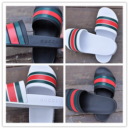 Wholesale Leather Summer Slippers - 2017 men's designer sandals fashion causal rubber huaraches sandals slide sandals non-slip summer outdoor brand slippers slippers