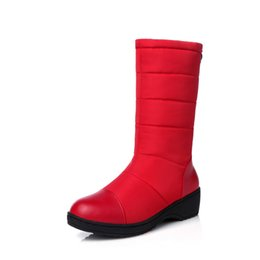 Wholesale Waterproof Wedge Winter Boots Women - Winter red lady cotton shoes down snow boots women thickening in the tube flat waterproof plus velvet warm cotton boots. XZ-083