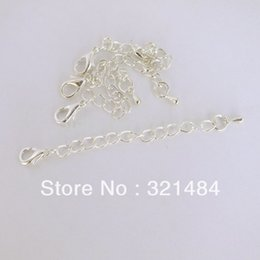 Wholesale Extender Tip - Silver plated 200pcs Extender Chain Necklace End Connector Link 12mm Lobster clasp Tear Drop Tip Jewelry Findings