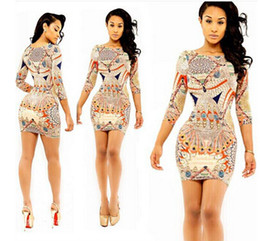 Wholesale Drop Ship Long Dresses - 2015 New Fashion Womens Celeb Floral Print 3 4Sleeve Midi Bodycon Ladies Party Evening Black Dress drop shipping
