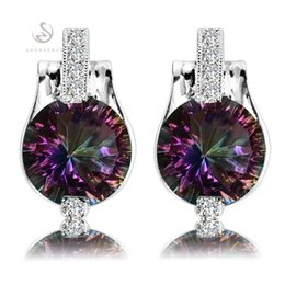 Wholesale Mystic Topaz Silver Earrings - Romantic earring jewelry Rainbow Mystic Topaz Fashion Silver Plated Earrings E721 First class products Recommend Promotion Favourite Hot