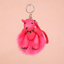 Wholesale Silver Ornament Balls - New Cute Leather Bear Real Fox Fur Ball Key Chain Handbag Car Charm Key Ring Hanging Pendant Ornament Fashion Accessories Gift