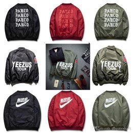 Wholesale Army Green Windbreaker Men - 2017 YEEZUS Invition Jacket Men KANYE WEST Hip Hop Windbreaker MA1 Pilot Men's Jacket Tour Baseball Supremo YEEZUS Jaqueta Masculina