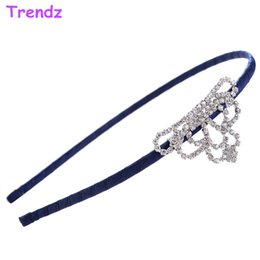 Wholesale Head Charms Hair Crystals - Fashion Metal Head Chain Jewelry Crystal Imperial Crown Charms Headbands Bow Hair Bands Hoop For Women Wedding Gifts FG2001