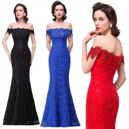 Wholesale Sexy Red Evening Dresses - Sexy Off Shoulder Black Red Royal Blue Bridesmaid Dresses Mermaid Lace Beaded Lace-up Back Long Evening Prom Party Gowns BZP0858