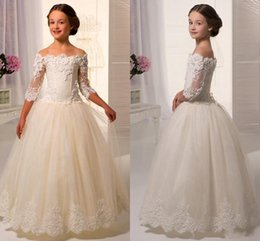 Wholesale Off White Ladies Shirts - 2016 New Spring Fall Half Sleeves Flower Girl Dresses Lace Appliques A Line Off Shoulder Tulle Communion Lady Wedding Party Dresses BO8801