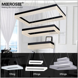 Wholesale Contemporary Led Lighting - Wholesale High Quality LED Pendant Light Modern Rectangle Pendant Suspension Light Fixture Gold or Black color for Dining Room