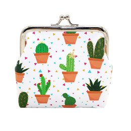 Wholesale Small Cute Women Coin Purse - Wholesale Women Cute Cactus Pattern Fashion Snacks Bag Hasp Leather Coin Purses Wallet Ladies Change Pouch Key Holder Small Purse