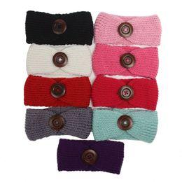 Deutschland Europäische und amerikanische Herbst Winter neue Baby Hauben handgemachte Wolle gewebt Baby Stirnband Kinder große Schnalle gestrickte Haarband Versorgung