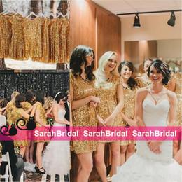 empoeirado rosa bridesmaids vestidos imagens Desconto Brilho Metálico Bridesmaid Dresses Moda Estilos Curto Mini Skirt Maid of Honor Vestidos para Bachelorette Parties Vestir Venda Barato