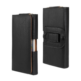 Wholesale Leather Cellphone Holsters Iphone - Wholesale Black Waist Holster Belt Clip Flip Leather Case Protector Cellphone Bag Cover Case For iPhone 6 Free Shipping