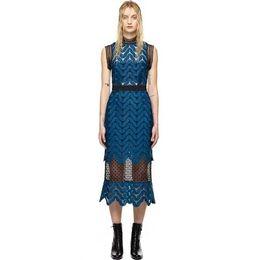 Wholesale Casual Dress Mid - High-end custom self portrait blue lace sleeveless sexy backless women long Dress dongguan_wholesale fashion runway style dress casual dress