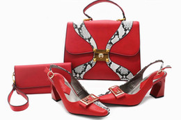 Wholesale Low Heel White Wedding Shoes - Italian Shoes matching Bag African Style fashionable shoes and bag set high quality nigeria for wedding party