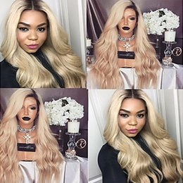 Wholesale Deep Wave 613 - Ombre Wigs 1b 613 27# Black Blonde Long Deep Wave Lace Front Wig Heat Resistant Glueless Synthetic Lace Front Wigs for Black Women