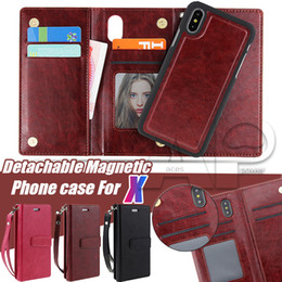 Wholesale Magnet Plastic Cover - For iPhone X 10 7 8 Plus Wallet Case 2in1 Multi-functional PU Leather Phone Cases with Magnetic Magnet Detachable Removable PC Cover