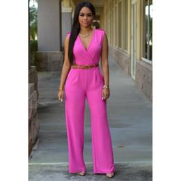 Wholesale Led Jumpsuits - European Foreign Trade Suit-dress Explosion High Waist V Lead Wide Leg Pants Irregular Suit Belt short jumpsuits blue