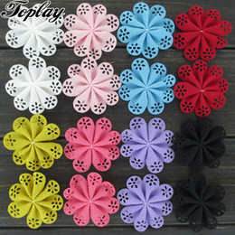 """Wholesale Diy Clothes Dress Flowers - Toplay 100pcs  Lot 2 .1 """"Hollow Out Diy Fabric Flowers Eyelet Flower for Girls Dress  Clothes Accessories Fashion Headbands Solid Headwear"""