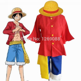 Wholesale Monkey D Luffy Cosplay - One Piece Monkey D Luffy After 2 Years Cosplay Costume Full Set (Hat shirt shorts shoes belt) 5pcs 2nd Generation