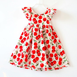 Wholesale Girl Cherries - Shabby Chic White Cherry Backless Summer Girls Dress Cherry Printed Woven Baby Dress Flutter Sleeve Toddler Clothes