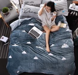 Wholesale Thick Cotton Comforters - gray black and white thick fleece bedding set twin queen king size for kids adults winter warm duvet cover set bed sheet set