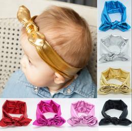 Wholesale Christmas Hair Bows For Babies - Baby Kids Headband Gold Rabbit Ear Headbands for Girls Children Hair Accessories Blend Fabric Bow Knot Elastic Hair Band Christmas Headdress