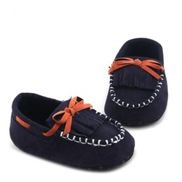Wholesale Toddler Boy Loafer Shoes - Toddler Baby boys' Moccasins Navy Fringe Shoes Patent Leather Loafers Newborn Infant Boy Shoe Casual slip-on