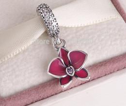 Pandora ale 925 болтается онлайн-pandora летние подвески Серебряная Орхидея мотаться Шарм 925 Эль стерлингового серебра подвески свободные бусины diy ювелирные изделия для резьбы браслет FL232