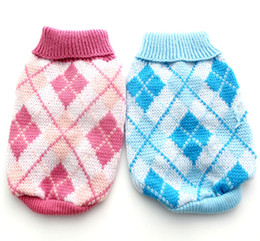 Wholesale Dogs Jumpers - Wholesale-Pink Blue argyle dog sweater coat,Pet Jumper Clothes Jumper,5 sizes available