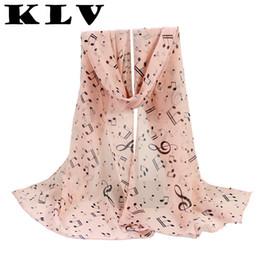 Wholesale Pure Silk Chiffon - Wholesale- KLV 1PC Women Lady Musical Note Chiffon Neck Scarf Shawl Muffler Scarves femme pure silk scarf new fashion womens scarfs