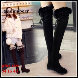 Wholesale Black Suede Lace Up Wedges - Plus Size 34 to 40 41 42 43 Black Brown Wedge Heel Fur Boots Over The Knee Boots Winter Shoes Invisible Height Increased